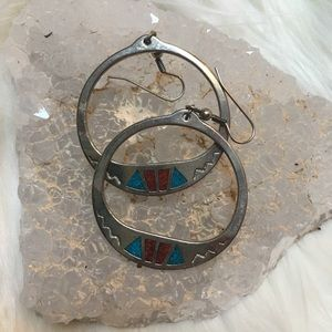 80's turquoise coral inlay silver hoop earrings